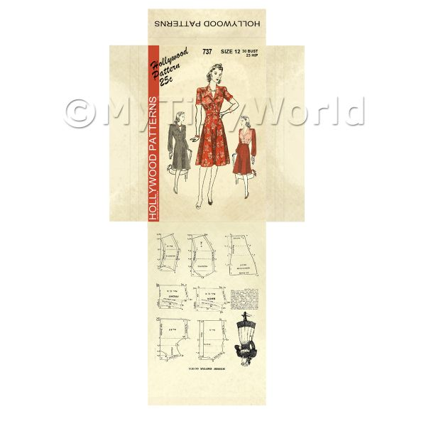 Dolls House Miniature  | Miniature DIY Hollywood Dress Pattern Packet (DPD044)