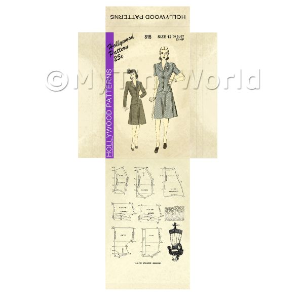 Dolls House Miniature  | Miniature DIY Hollywood Dress Pattern Packet (DPD045)
