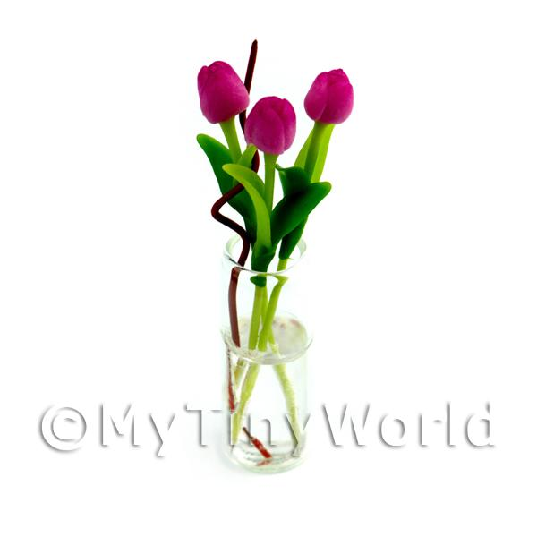 Dolls House Miniature  | 3 Miniature Long Stemmed Dark Pink Tulips in a Glass Vase
