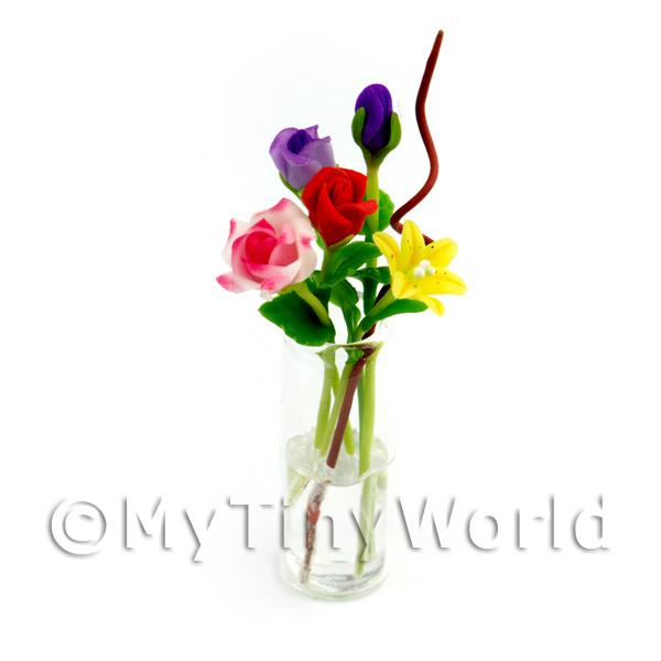 Dolls House Miniature  | 5 Mixed Long Stem Flowers in a Glass Vase (GV73)