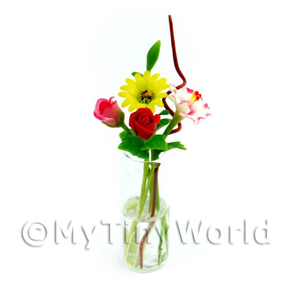 Dolls House Miniature  | 4 Mixed Long Stem Flowers in a Glass Vase (GV81)