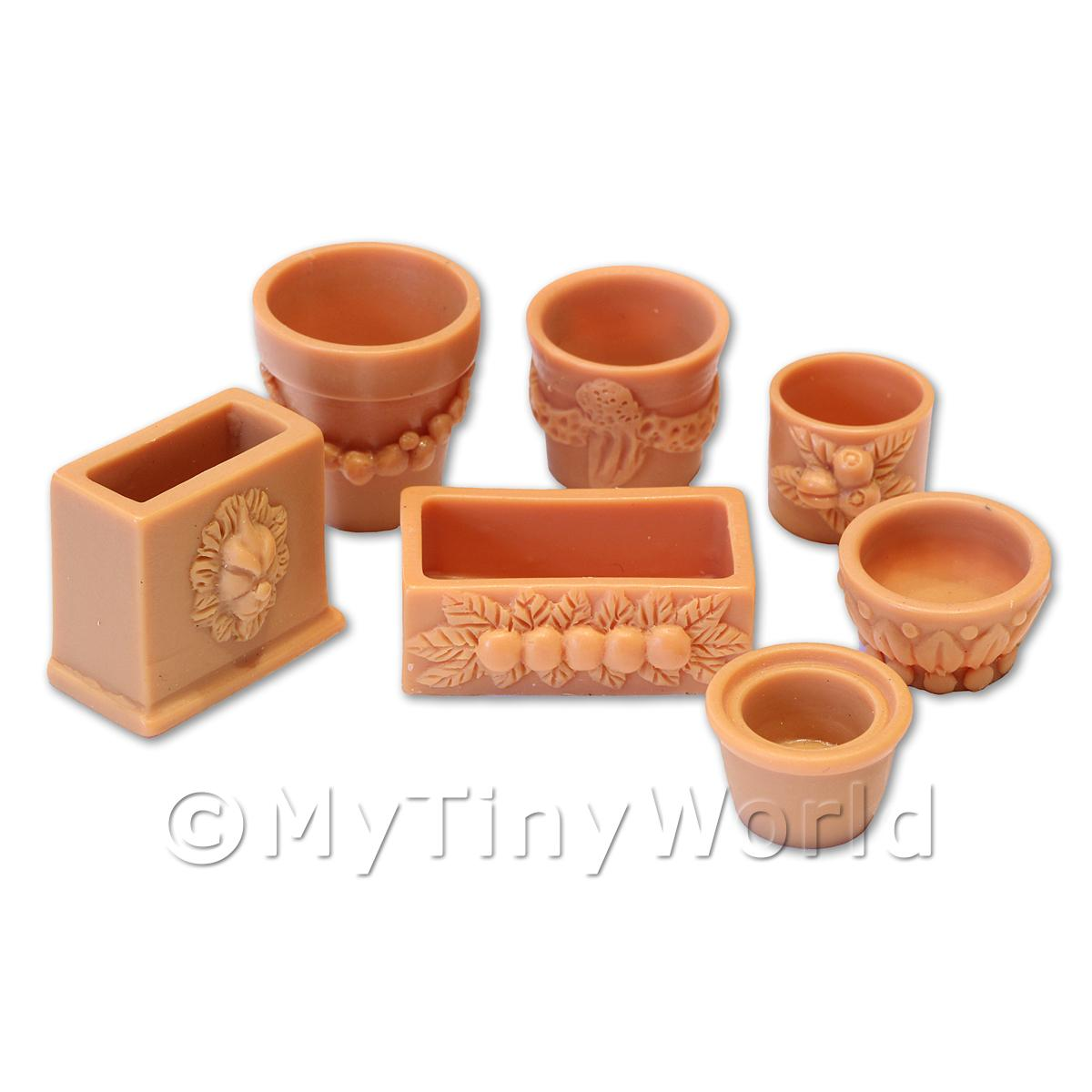 Dolls House Miniature  | Set of 7 Dolls House Miniature Terracotta Style Resin Flower Pots