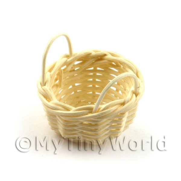 c47ccac00f11f Dolls House Miniature | Miniature Handmade Small Round Wicker Basket With  Handles
