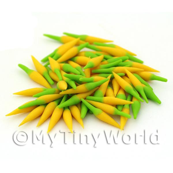 1/12 Scale Dolls House Miniatures  | 10 Handmade Dolls House Miniature Yellow Chillies