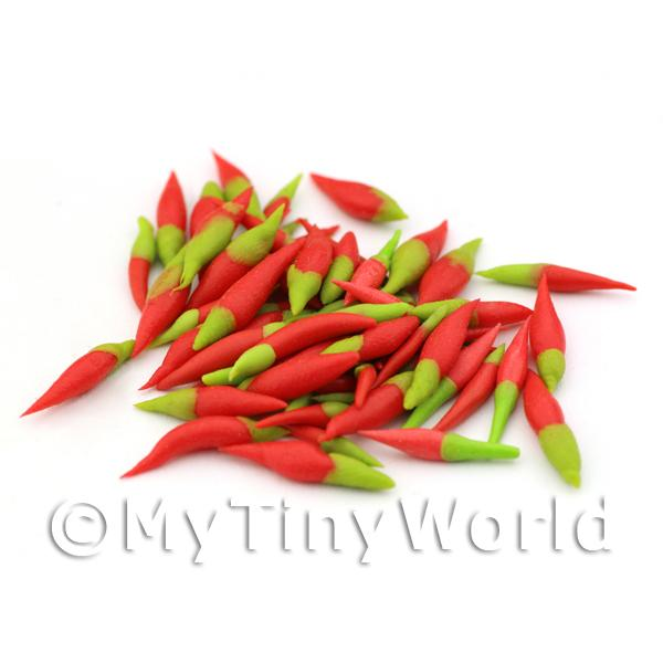 10 Handmade Dolls House Miniature Red Chillies