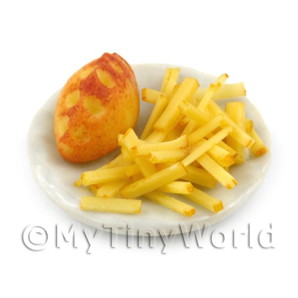 Dolls House Miniature Handmade Pasties and Chips