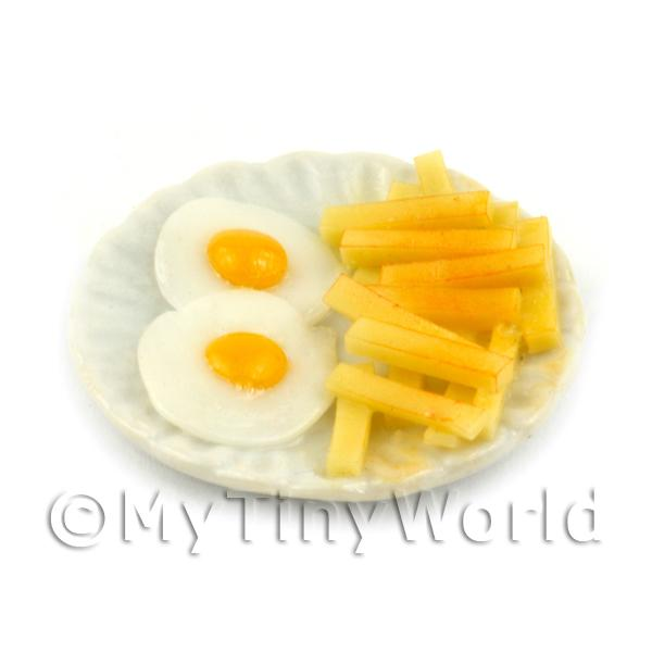 Dolls House Miniature Double Egg and Chips