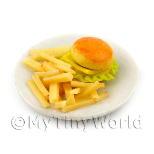 Dolls House Miniature Burger and Chips Meal