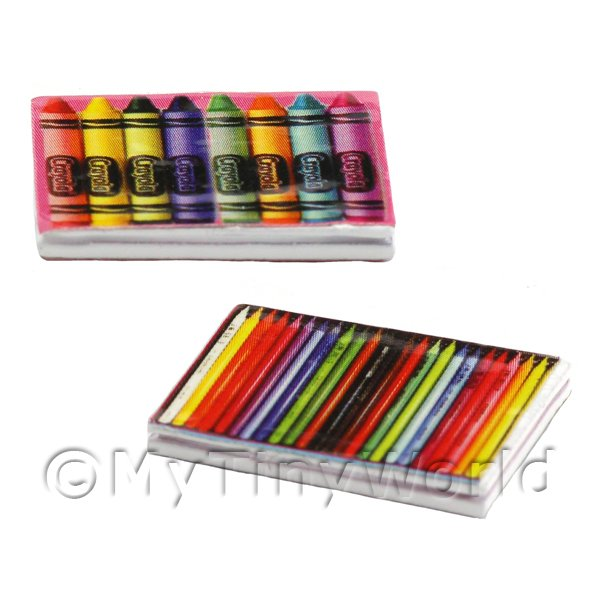 1/12 Scale Dolls House Miniatures  | Dolls House Miniature 2 Metal Crayon Tins With Graphics