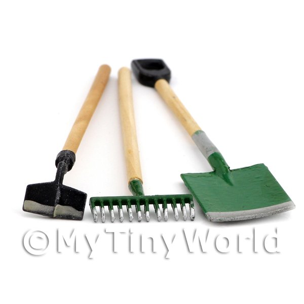 Dolls House Miniature 3 Piece Garden Set Including Spade, Rake And Hoe