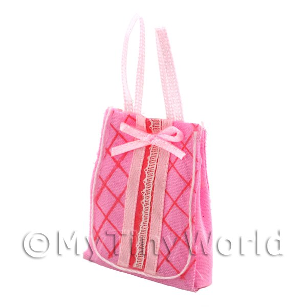 1/12 Scale Dolls House Miniatures  | Dolls House Miniature Pink Fabric Shopping Bag