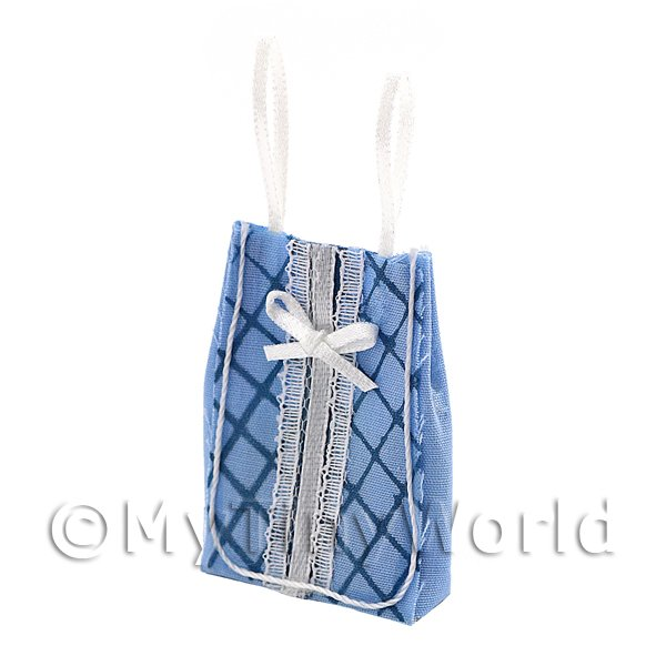 1/12 Scale Dolls House Miniatures  | Dolls House Miniature Blue Fabric Shopping Bag