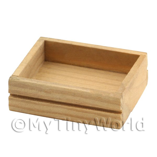 Dolls House Miniature Wooden Solid Side Storage Crate