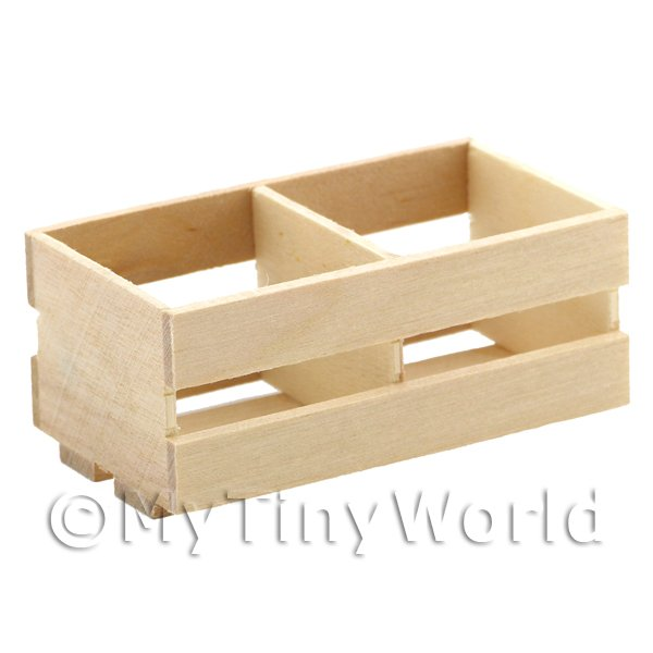 Dolls House Miniature Large Wood Partitioned Slated Crate
