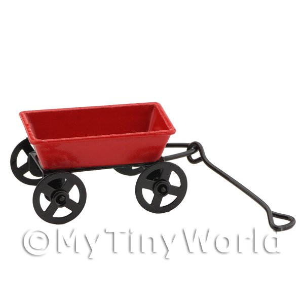 Dolls House Miniature Red Old Fashioned Metal Pull Along Cart