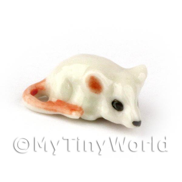 Dolls House Miniature  | Dolls House Miniaure Ceramic White Mouse