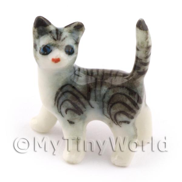 Dolls House Miniature Ceramic Grey and White Tabby Cat