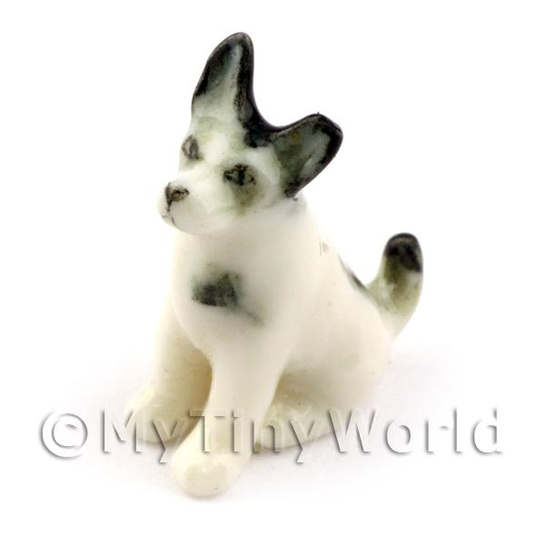 Dolls House Miniature Ceramic Black and White Terrier Dog