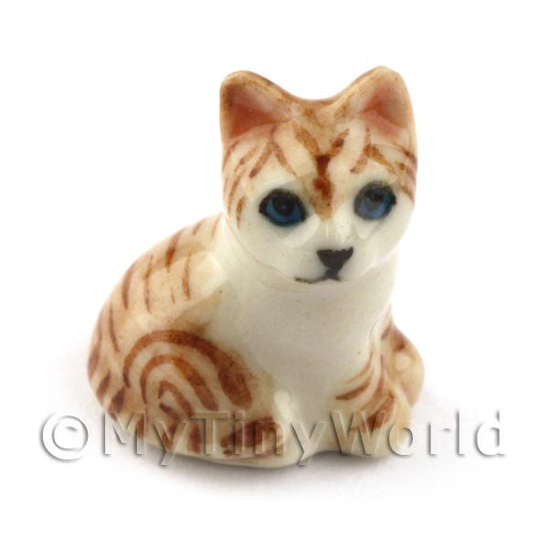 Dolls House Miniature Brown Ceramic Tabby Cat