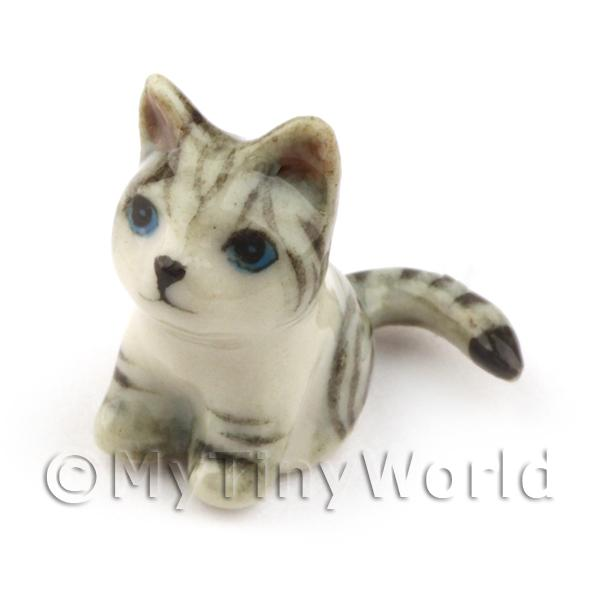 Dolls House Miniature  Sitting Tabby Grey Cat