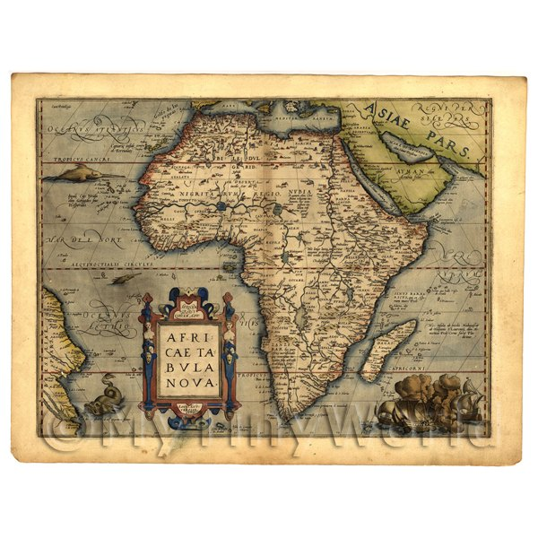 1/12 Scale Dolls House Miniatures  | Dolls House Miniature Old Map Of Africa From The Late 1500s