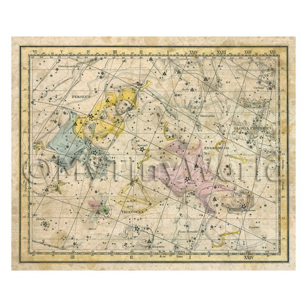 Dolls House Miniature Aged 1800s Star Map With Andromeda And Perseus