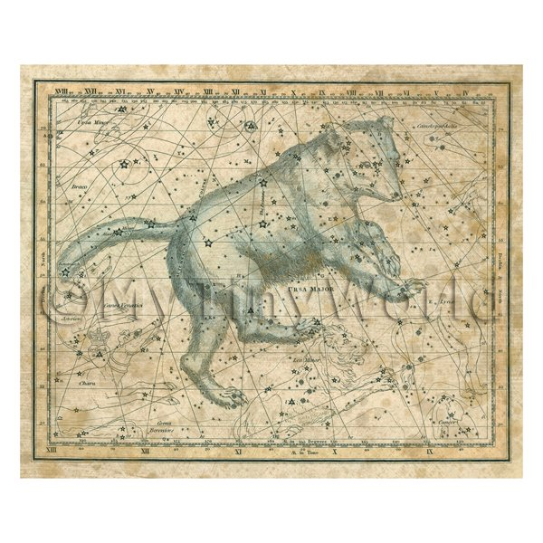 Dolls House Miniature Aged 1800s Star Map With Ursa Major