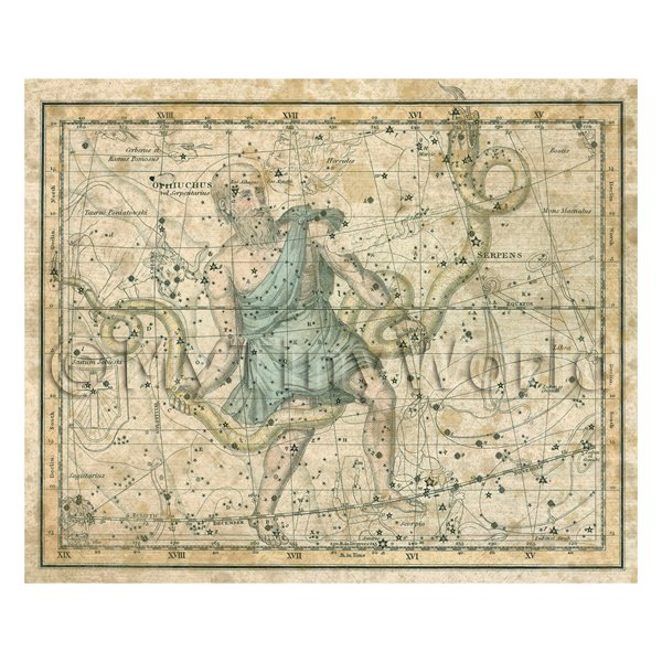Dolls House Miniature Aged 1800s Star Map With Serpens And Serpentaurus