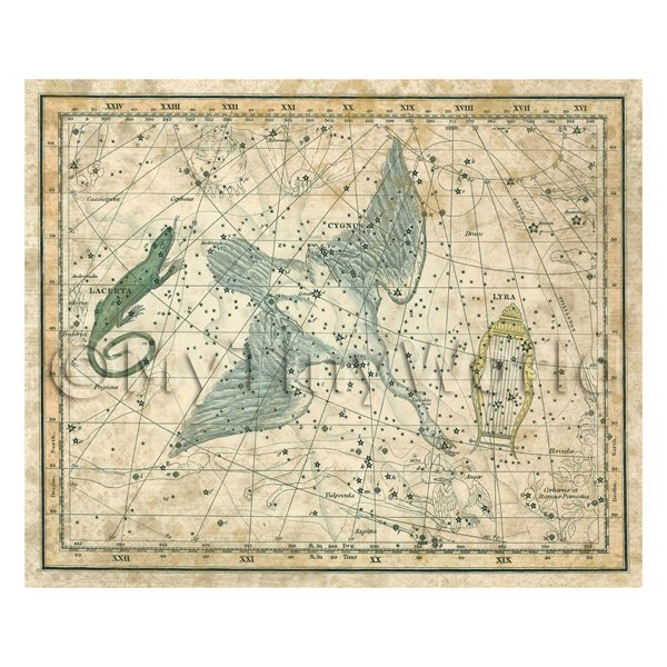 Dolls House Miniature Aged 1800s Star Map With Cynus, Lyra And Lacerta