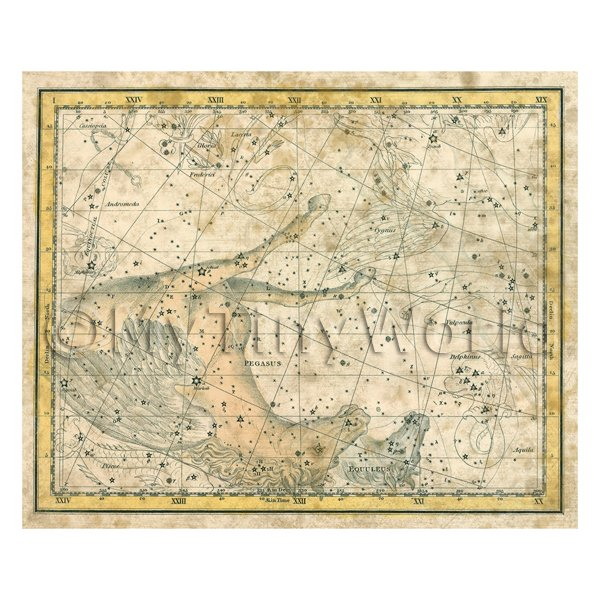 Dolls House Miniature Aged 1800s Star Map With Pegasus And Equuleus