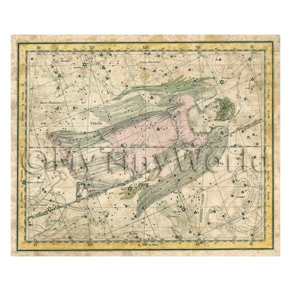 Dolls House Miniature Aged 1800s Star Map With Virgo