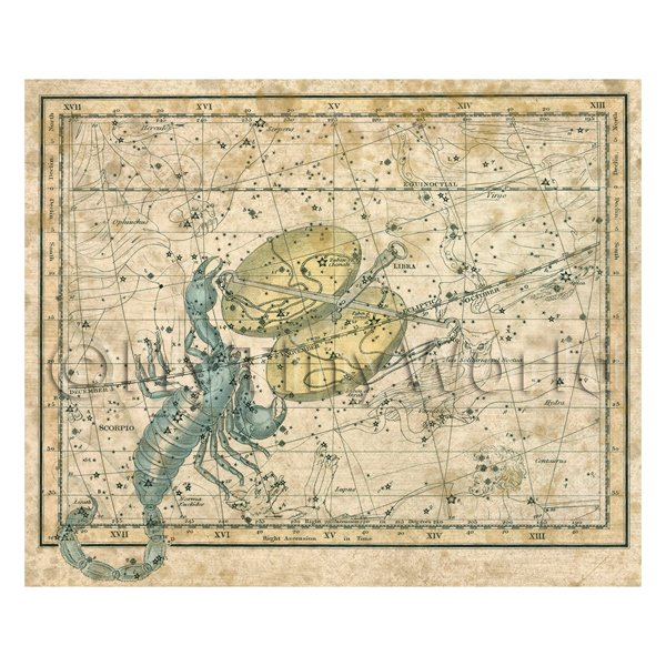 Dolls House Miniature Aged 1800s Star Map With Scorpio And Libra