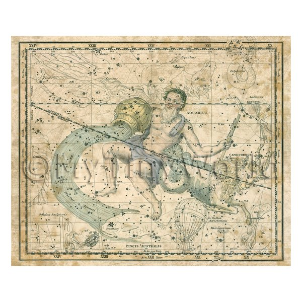 Dolls House Miniature Aged 1800s Star Map With Aquarius And Capricorn