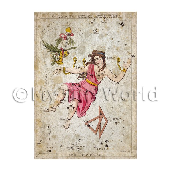 Dolls House Miniature Aged 1820s Star Map Depicting Andromeda