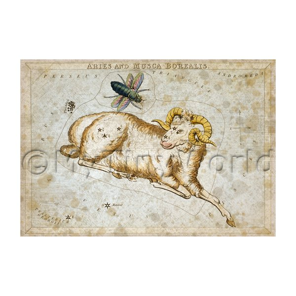 Dolls House Miniature Aged 1820s Star Map Depicting Aries