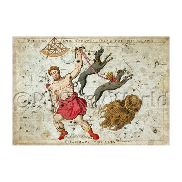 Dolls House Miniature Aged 1820s Star Map Depicting Bootes