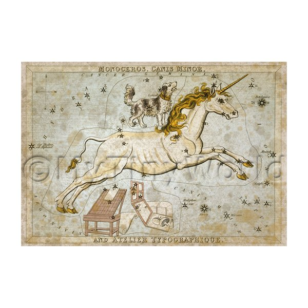 Dolls House Miniature Aged 1820s Star Map Depicting Monoceros