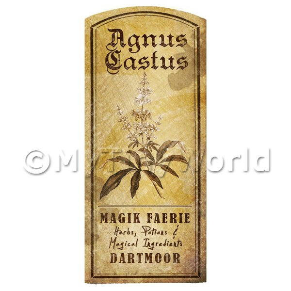 Dolls House Herbalist/Apothecary Agnus Castus Herb Short Sepia Label
