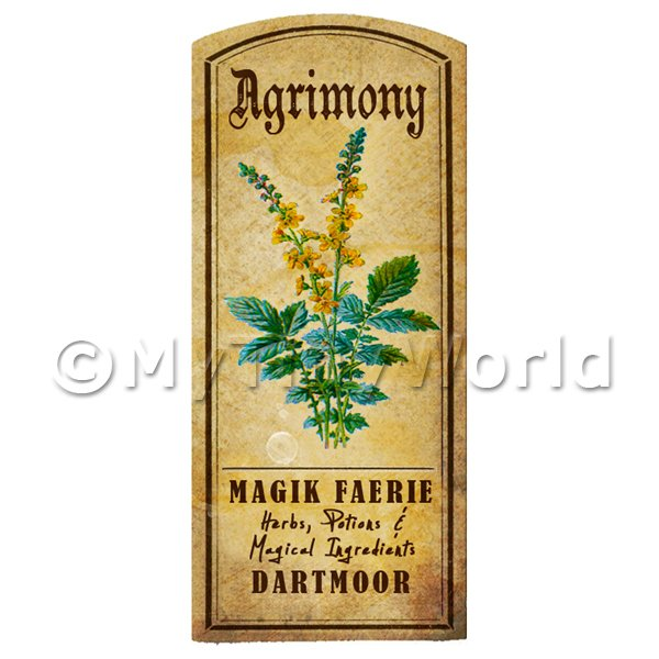 Dolls House Miniature  | Dolls House Herbalist/Apothecary Agrimony Herb Short Colour Label