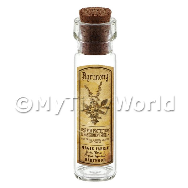 Dolls House Miniature  | Dolls House Apothecary Agrimony Herb Long Sepia Label And Bottle