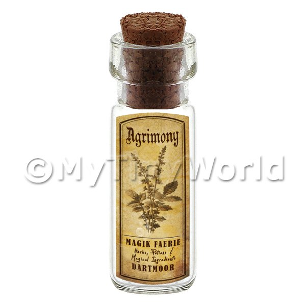 Dolls House Apothecary Agrimony Herb Short Sepia Label And Bottle