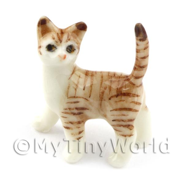 Dolls House Miniature Ceramic  Brown and White Tabby Cat