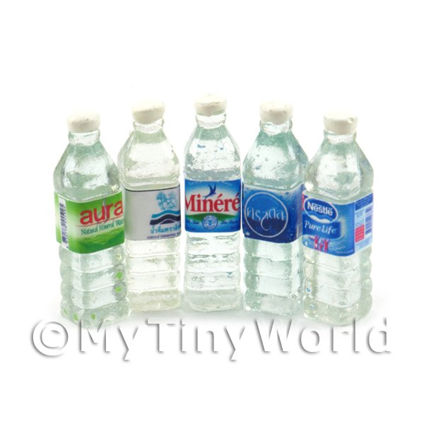 Dolls House Miniature  Selection of 5 Water Bottles