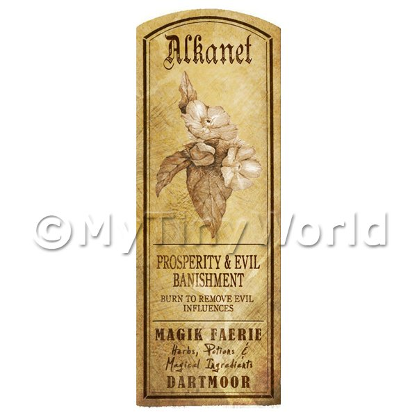 Dolls House Miniature  | Dolls House Herbalist/Apothecary Alkanet Plant Herb Long Sepia Label
