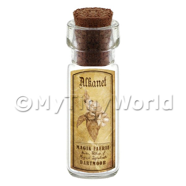 Dolls House Apothecary Alkanet Herb Short Sepia Label And Bottle
