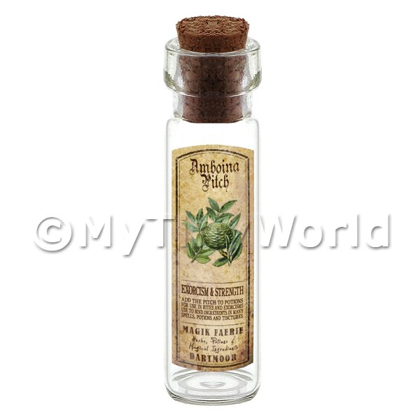 Dolls House Apothecary Amboina Pitch Herb Long Colour Label And Bottle