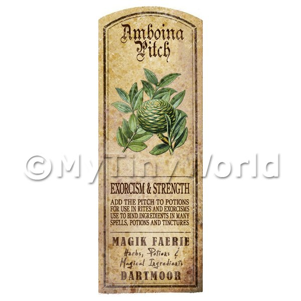 Dolls House Miniature  | Dolls House Herbalist/Apothecary Amboina Pitch Herb Long Colour Label