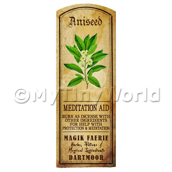 Dolls House Herbalist/Apothecary Aniseed Herb Long Colour Label