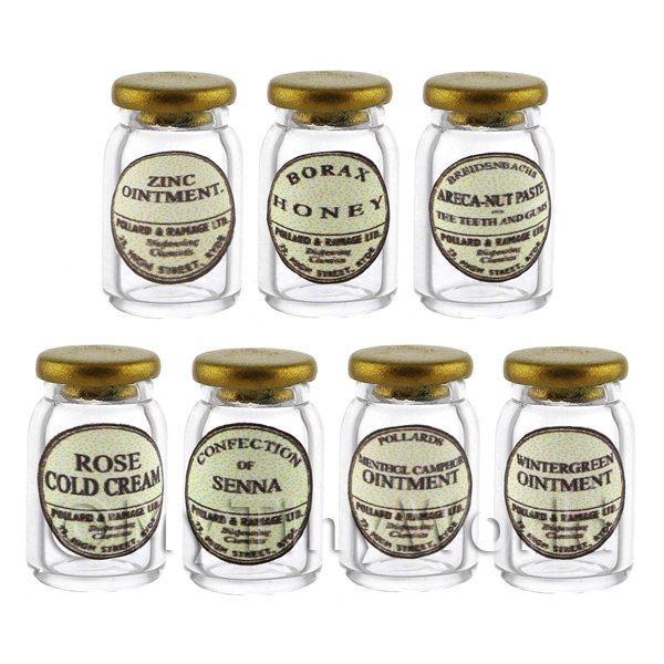 Set of 7 Glass Ointment Jars
