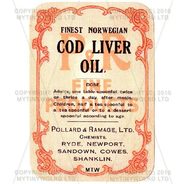 Finest Norwegian Cod Liver Oil Miniature Apothecary Label